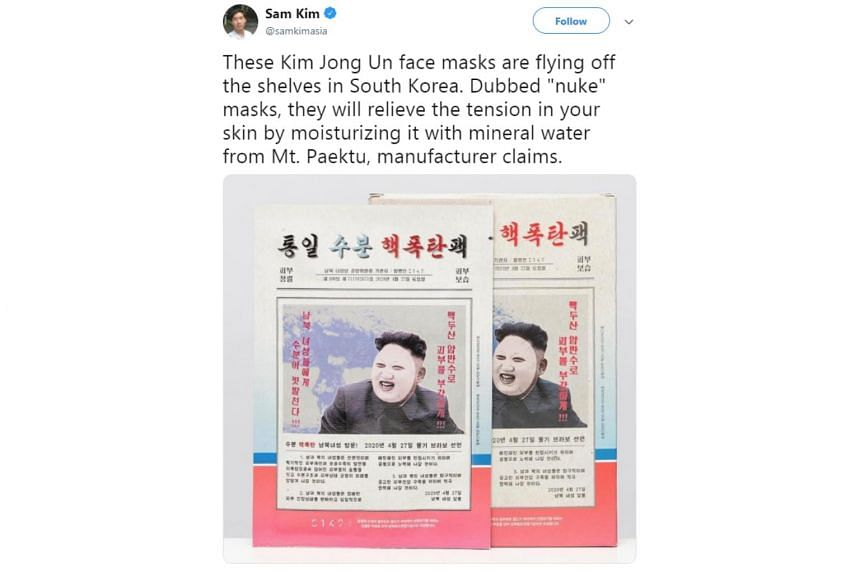 More than 25,000 of these facial masks, which feature the North Korean leader's face and blocky hairline, have been sold online and in stores since June.