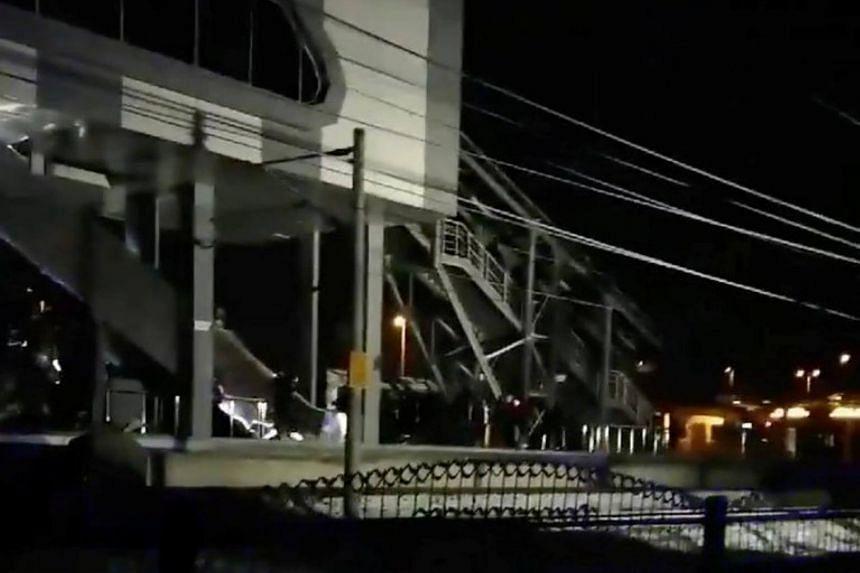 A view of the scene following a crash involving a Turkish high-speed train in Ankara, Turkey, on Dec 13, 2018.