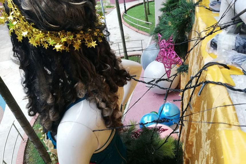 The decorations, which are on a ledge above a walkway and near a playground, were spotted at Block 351 Clementi Avenue 2.