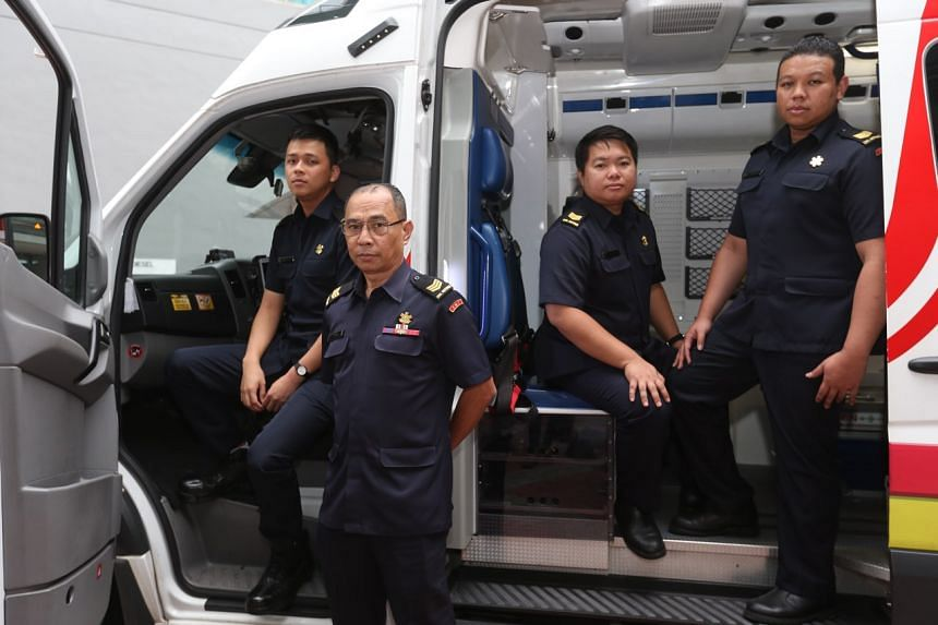 (From left) Singapore Civil Defence Force Corporal Timothy Chua, Sergeant Abdullah Haron, Sergeant Jeremy Liang and Sergeant Md Fadzli Md Padil.