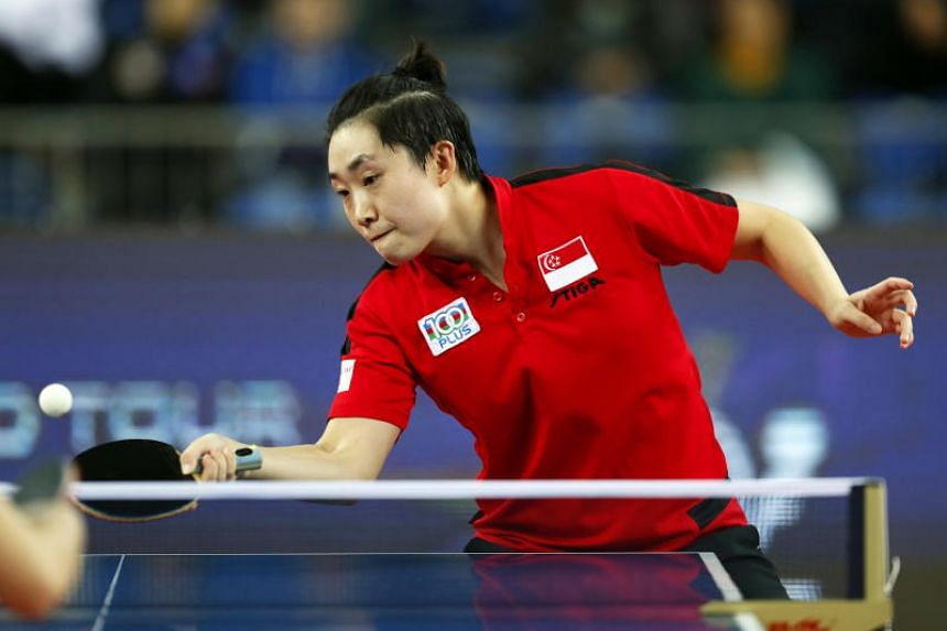 Feng Tianwei (above) held leads at the start of the last two games, but Wang Manyu's counter-attacks were simply too ferocious as the teenager progressed to the quarter-finals.