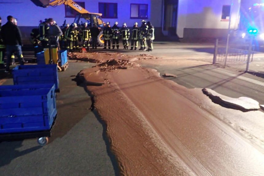 The DreiMeister chocolate factory in Westonnen, a suburb of Werl, Germany,  leaked about a tonne of liquid chocolate onto the road.