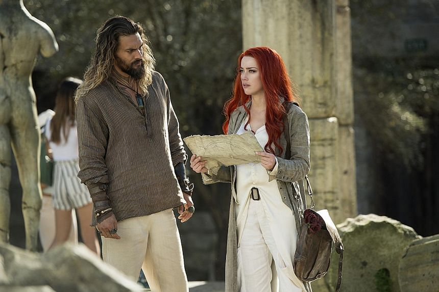 Jason Momoa and Amber Heard star in Aquaman.