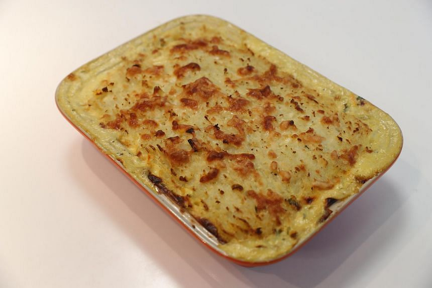 Each serving has about 450 calories compared to about 695 calories for a traditional fish pie.