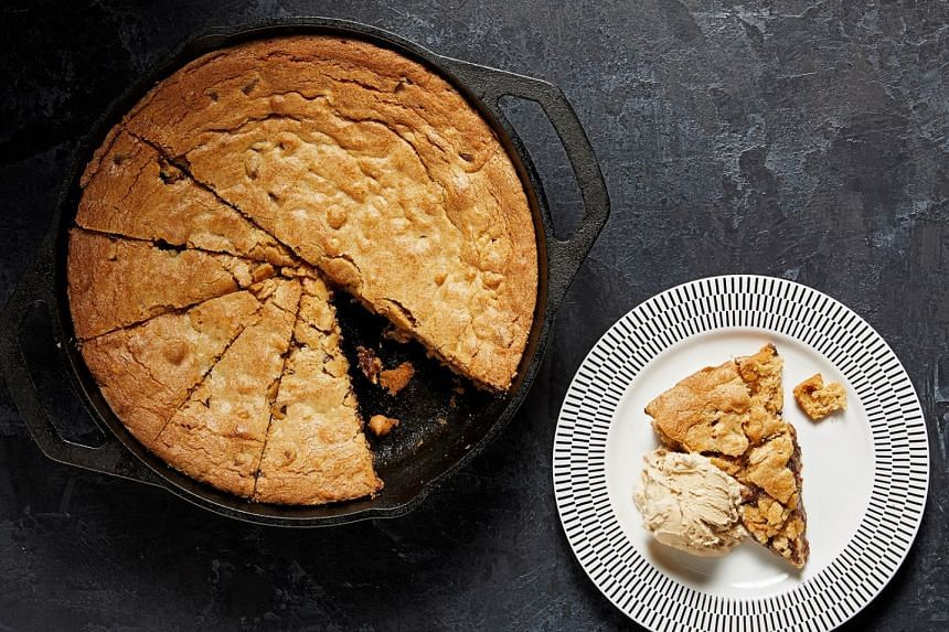 A recipe for skillet peanut butter chocolate chip blondies.