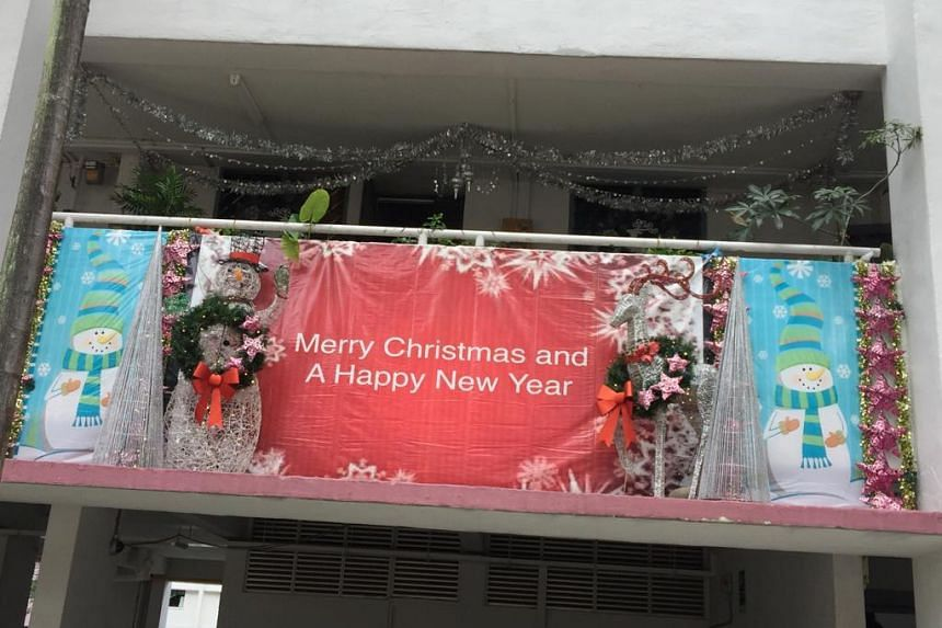 Christmas decorations set up by Mr Philip Sobrielo Gene outside his family's second-storey unit at Block 351 Clementi Avenue 2, in 2017. PHOTO: MR PHILIP SOBRIELO GENE