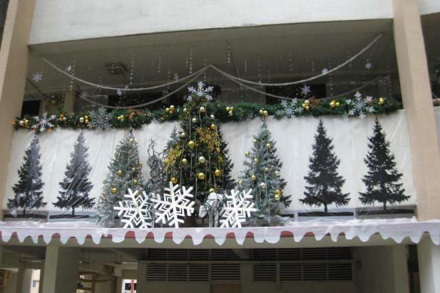Christmas decorations set up by Mr Philip Sobrielo Gene outside his family's second-storey unit at Block 351 Clementi Avenue 2, in 2012. PHOTO: MR PHILIP SOBRIELO GENE