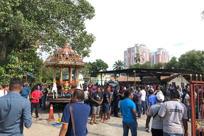 A group gathered at Sri Maha Mariamman temple on Nov 26, 2018.