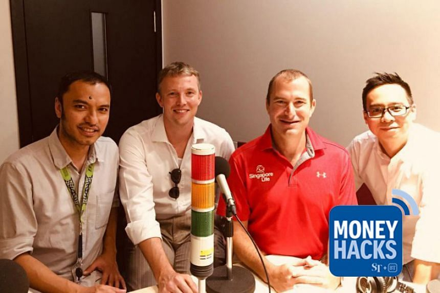 Money Hacks co-hosts Ernest Luis (left) and Chris Lim (right) host Walter de Oude (second from right), the founder and CEO of new insurance provider Singapore Life and Robert Ross, its chief technology officer (second from left), as they talk about h