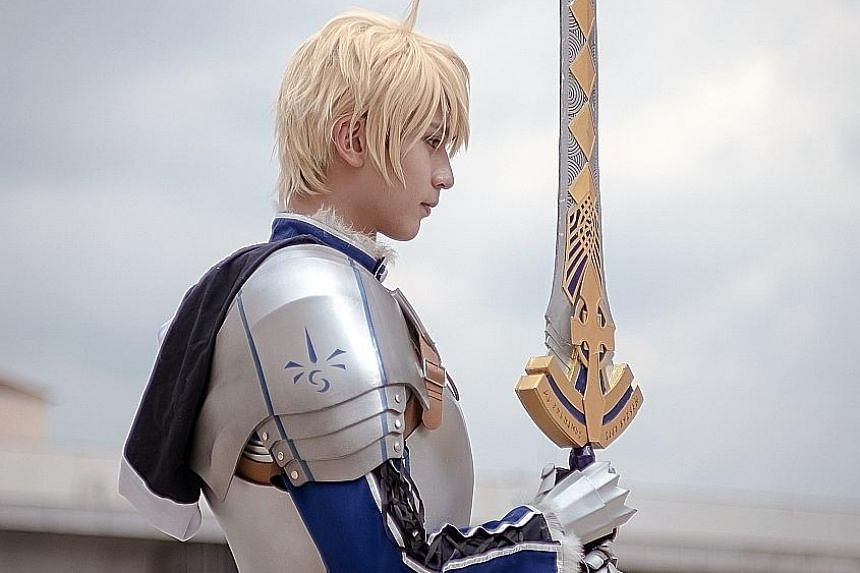 Cosplayer Eiji Wong, in the role of Arthur Pendragon, a character from mobile game Fate Grand Order.