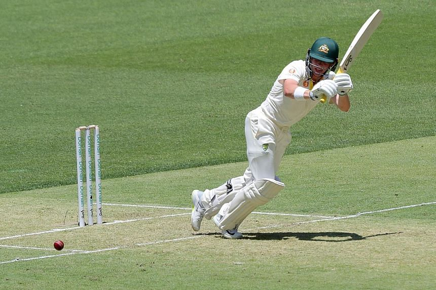Australia's Marcus Harris batting in the second Test match against India yesterday. He had 70 runs at the Perth Stadium, Test cricket's newest venue.