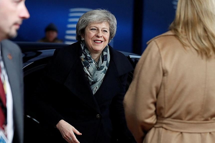 British Prime Minister Theresa May arriving at a European Union leaders' summit in Brussels yesterday. European diplomats said Mrs May had been unable to explain what she wanted or how she could deliver a British parliamentary majority to endorse the