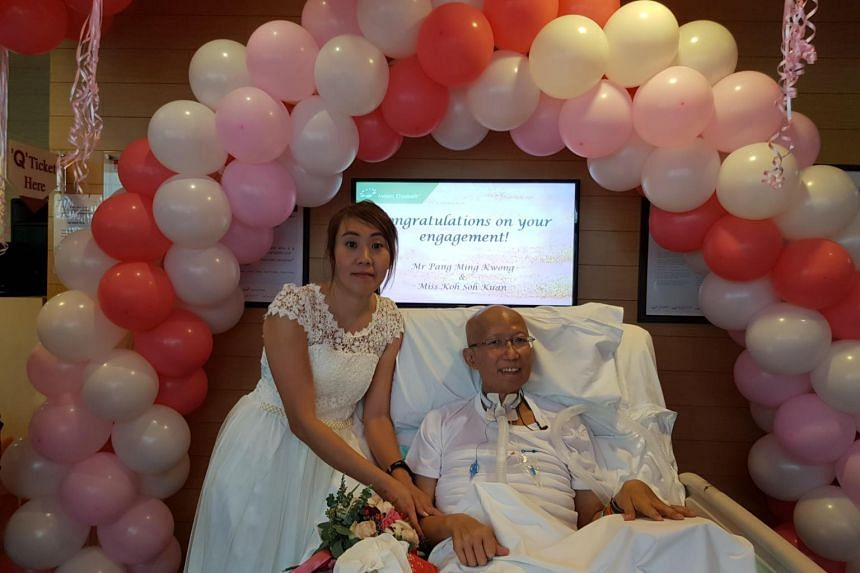 Mr Pang Ming Kwong, 58, exchanged engagement rings with his fiancee, Ms Koh Soh Kuan on Dec 15, 2018.