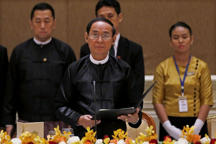 Myanmar's President Win Myint speaks during a dinner at the president house in Naypyitaw, Myanmar, on Dec 11, 2018.