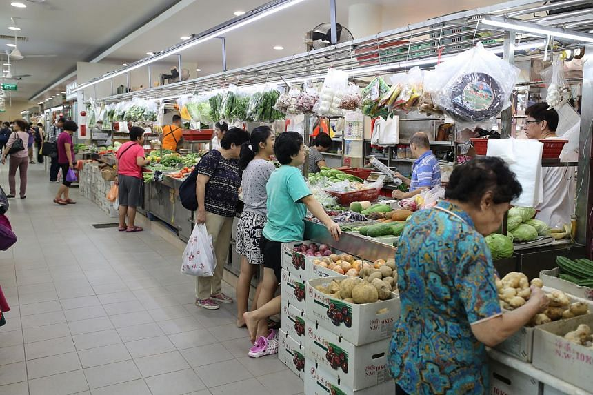 A stall at Tiong Bahru Market, one of more than 10 that are on e-commerce site MarketFresh, where customers can order wet market produce for delivery the next day.