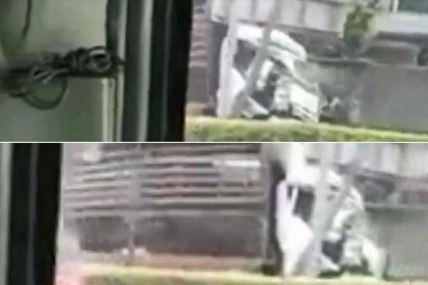 A video uploaded to Facebook shows the front of the first lorry badly damaged, with the road sign bent from the crash.
