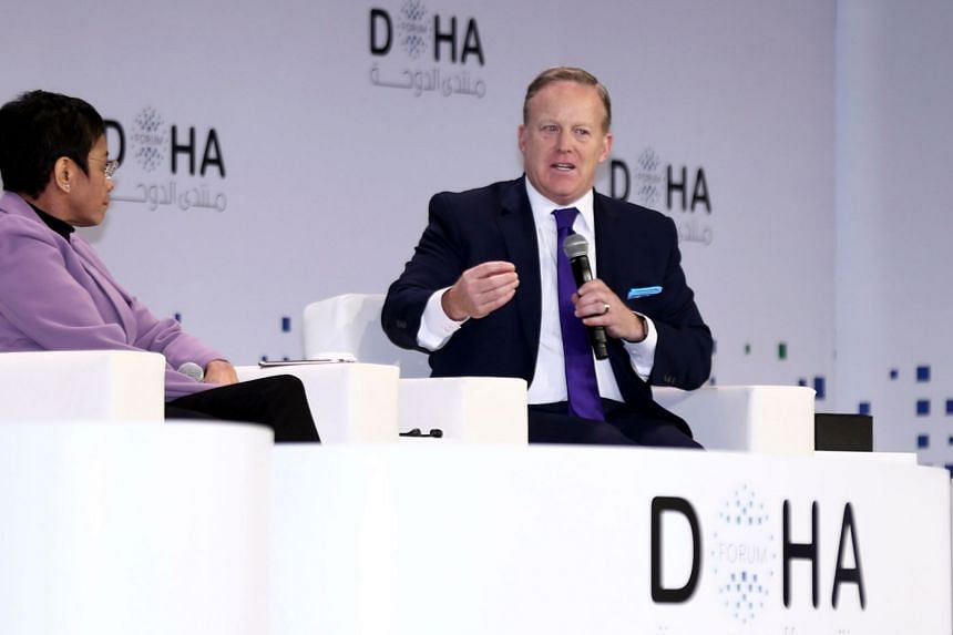 Sean Spicer, former White House press secretary, speaking during a session of the Doha Forum.
