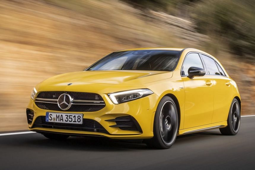 The A35 has a lowered ride height, a big rooftop spoiler and a diffuser under the rear bumper. Its materials and fittings have a solid, reassuring feel.