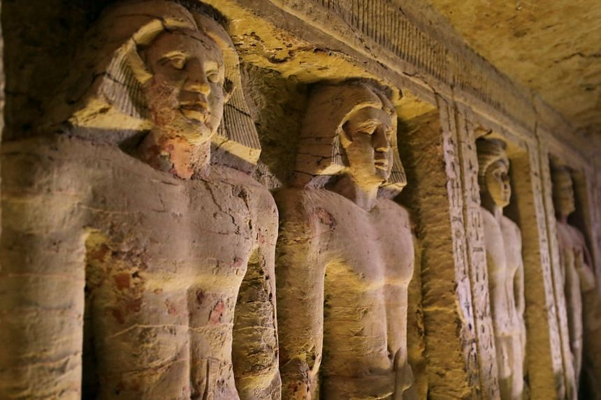 A view of statues inside the newly-discovered tomb of Wahtye.