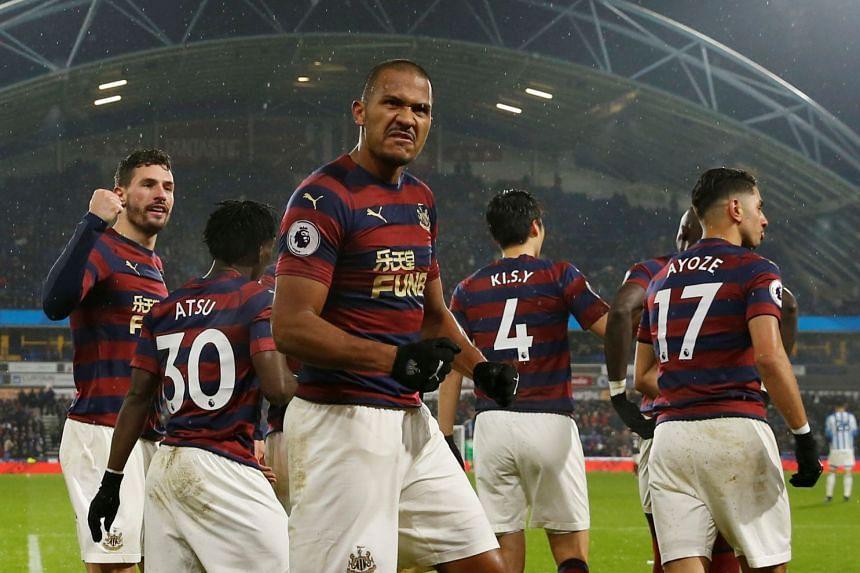 Salomon Rondon celebrates scoring for Newcastle.