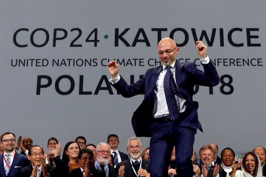COP24 President Michal Kurtyka reacts during a final session of the COP24 UN Climate Change Conference.