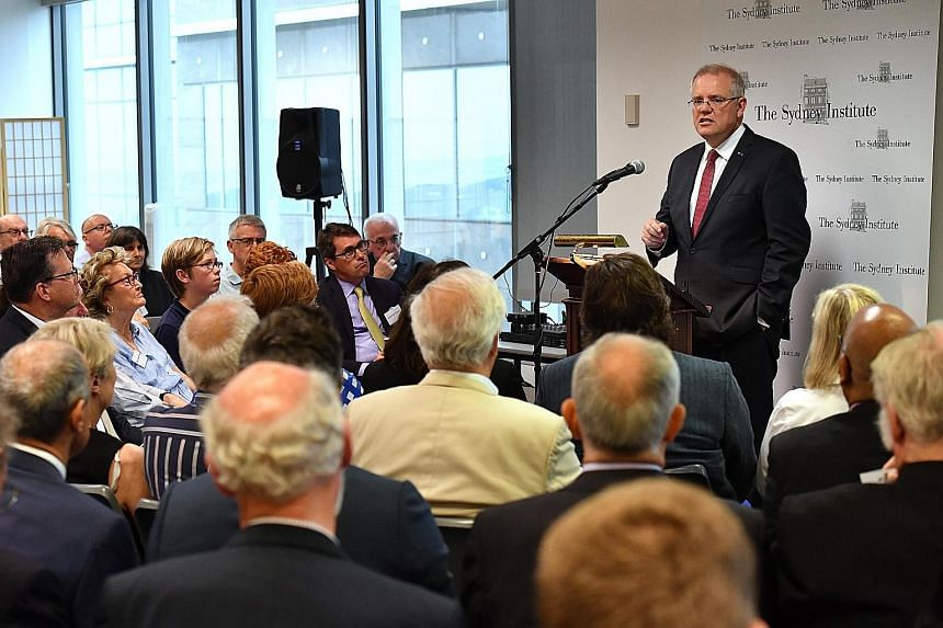 """Australian Prime Minister Scott Morrison speaking at The Sydney Institute yesterday, where he said Australia would formally recognise West Jerusalem as Israel's capital, but would not move its embassy there until it was """"practical""""."""
