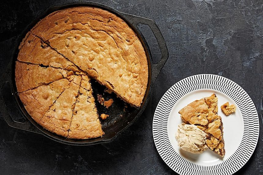 Make food writer Hedy Khoo's tandoori-inspired capon (left) and American model Chrissy Teigen's peanut butter chocolate chip blondie in a skillet (above).