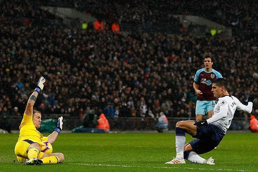 Tottenham midfielder Erik Lamela having his shot blocked by Burnley goalkeeper Joe Hart during their English Premier League match at Wembley Stadium in London. Spurs had over 70 per cent possession but could not break down the resistance of visitors