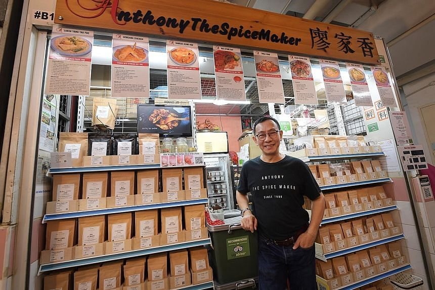 Mr Anthony Leow's spice mix brand now has social media accounts and an e-commerce site. It also uses QR codes on its packaging to give customers access to video tutorials on how to use the spice mixes. Mr Khor Chin Puang, owner of Pan's Fish at Tiong
