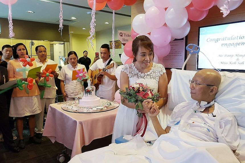 Mr Pang Ming Kwong had proposed to Ms Koh Soh Kuan from his hospital bed last month, and the ward nurses pitched in to make the engagement ceremony yesterday a memorable event.