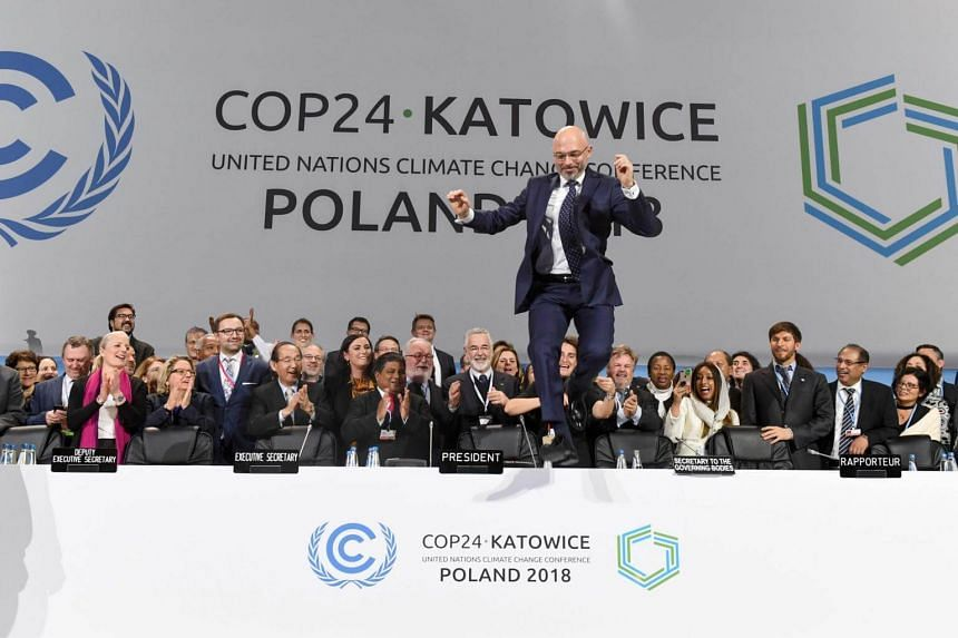 """President of the talks Michal Kurtyka leaps for joy from the head table on to the main stage after the adoption of the climate deal on Saturday. """"Mission accomplished!"""" he tweeted afterwards."""