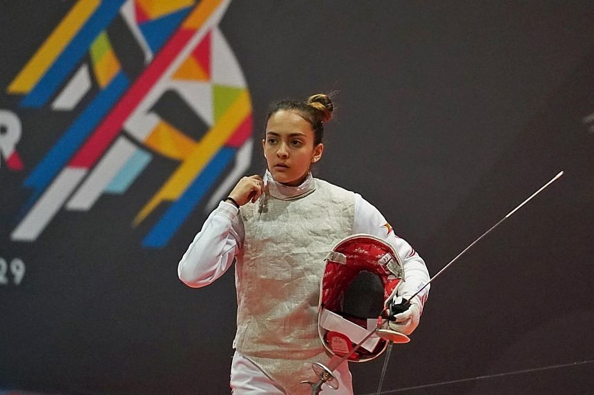 Singapore fence Amita Berthier (pictured, in 2017) finished second in the women's foil event at the International Fencing Federation Junior World Cup in Havana, despite her equipment getting lost at the airport.