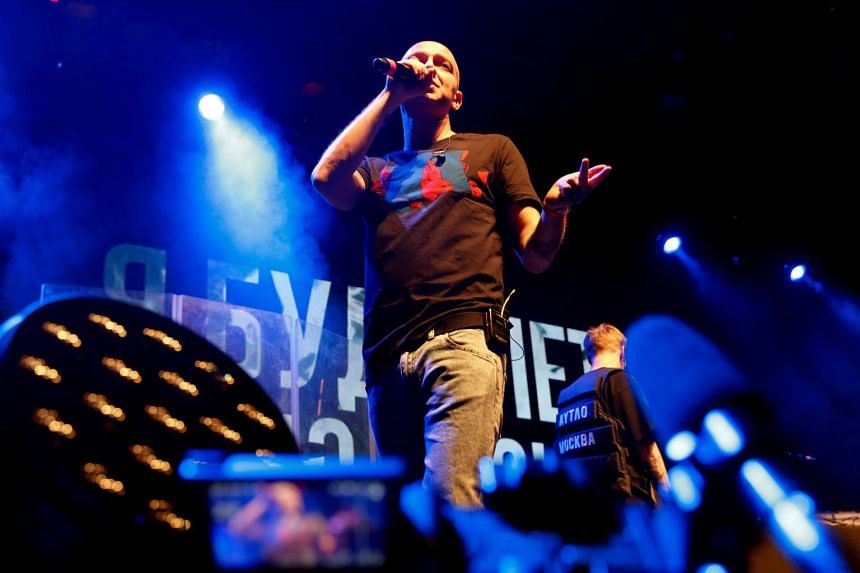 Rapper Oxxxymiron performs during a concert in support of rapper Husky at a Moscow club on Nov 26, 2018.