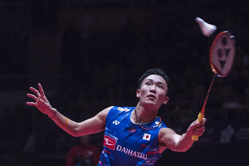 Kento Momota of Japan in action during his men's singles semi-finales match at the HSBC Badminton World Tour Finals in Guangzhou, China, on Dec 15, 2018.