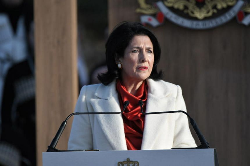 Georgia's first female president, Salome Zurabishvili,  took the oath of office in the courtyard of an 18th-century manor on Dec 16.