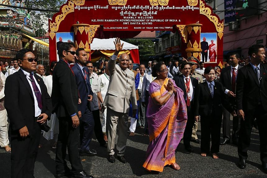 Indian President Ram Nath Kovind visiting Shri Kali Temple in Yangon last Thursday. Concerned over China's influence, India is courting Myanmar by offering to fund and work on development projects and boosting connectivity with the country.