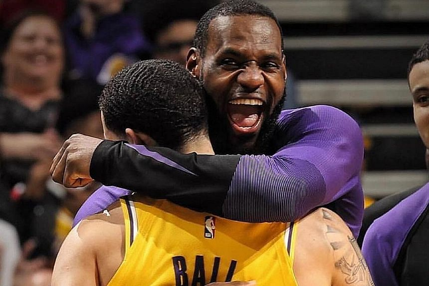 LeBron James embracing Ball. The photo on Instagram pulled in over one million likes in seven hours.