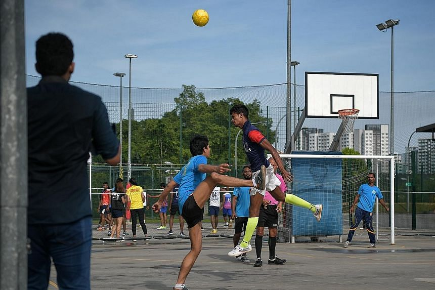 A 3km mass run and futsal were some of the activities organised for workers at the Migrant Workers' Centre's International Migrants Day celebrations, at the Terusan Recreation Centre in Jurong yesterday.