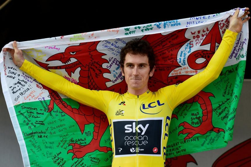 Geraint Thomas (above) beat out Formula One world champion Lewis Hamilton and World Cup Golden Boot winner Harry Kane into second and third respectively.