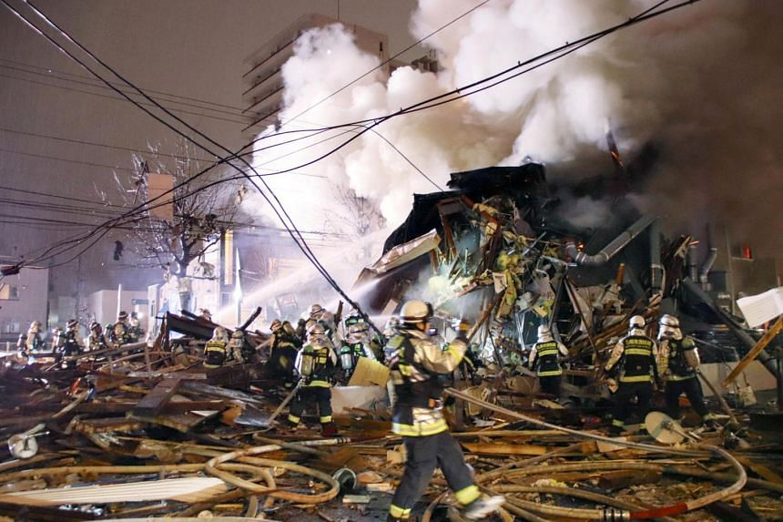 The aftermath of a large explosion at a restaurant in Sapporo, Hokkaido, northern Japan, on Dec 16, 2018.