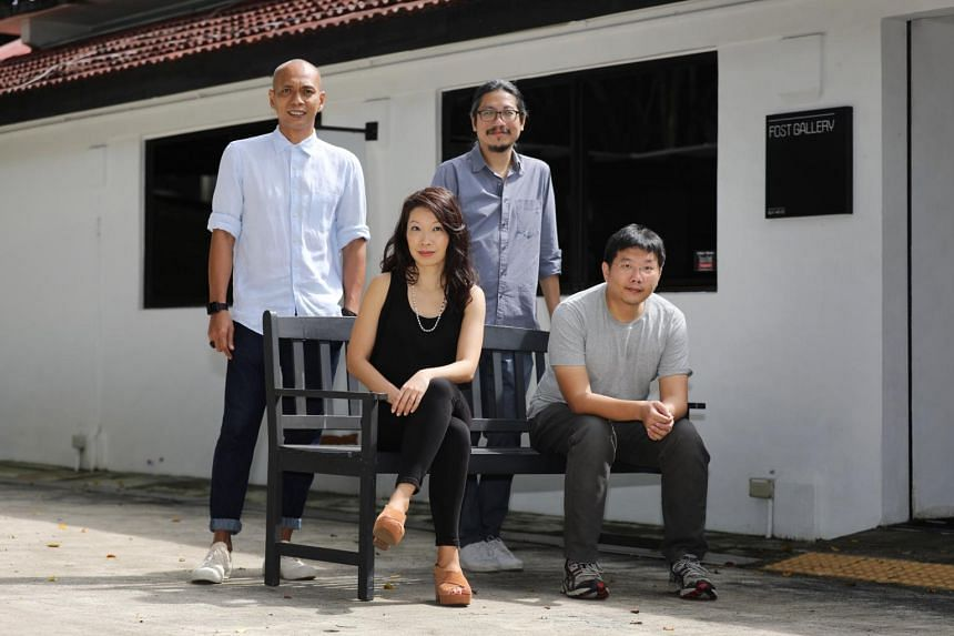 (From left) Artists Zul Mahmod, Wyn-Lyn Tan, Ian Woo and Ng Joon Kiat who will be part of a group exhibition called Sound & Vision at Fost Gallery.