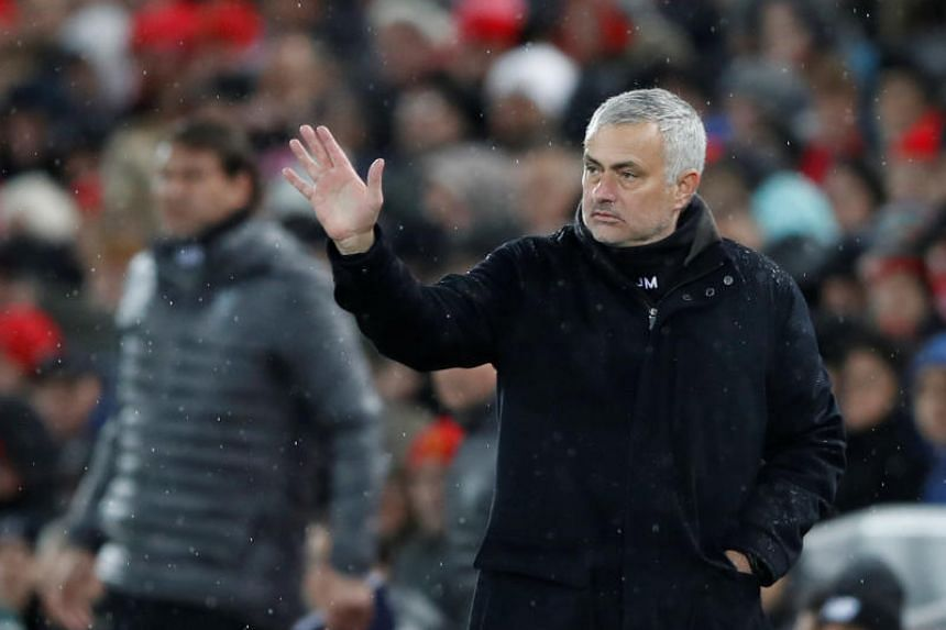Manchester United manager Jose Mourinho gestures at Anfield, Liverpool, Britain, on Dec 16, 2018.