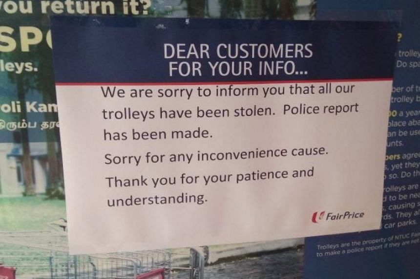 A sign was put up at the Holland Drive FairPrice outlet on Dec 14, 2018, informing customers that the trolleys had been stolen.