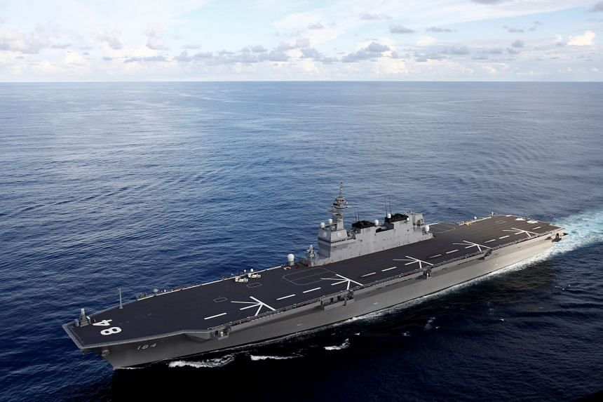 Japan's Izumo-class helicopter carrier Kaga taking part in a joint naval drill in the Indian Ocean on Sept 26, 2018. The Kaga and her sister ship Izumo will be modified into aircraft carriers.