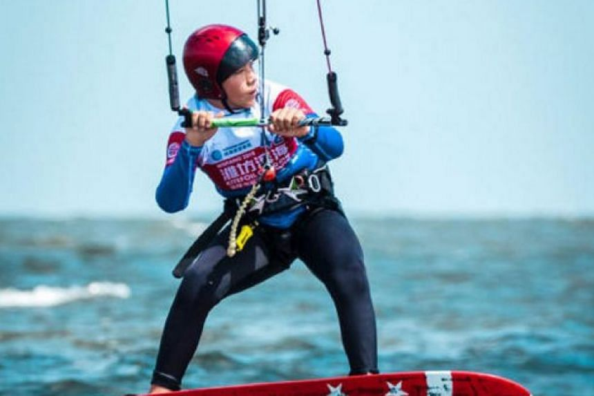 Singapore kiteboarder Maximilian Maeder, 12, in action at the 2018 KiteFoil GoldCup World Series in Weifang, China.