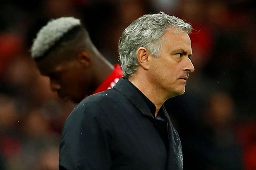 Manchester United manager Jose Mourinho as Paul Pogba is substituted.
