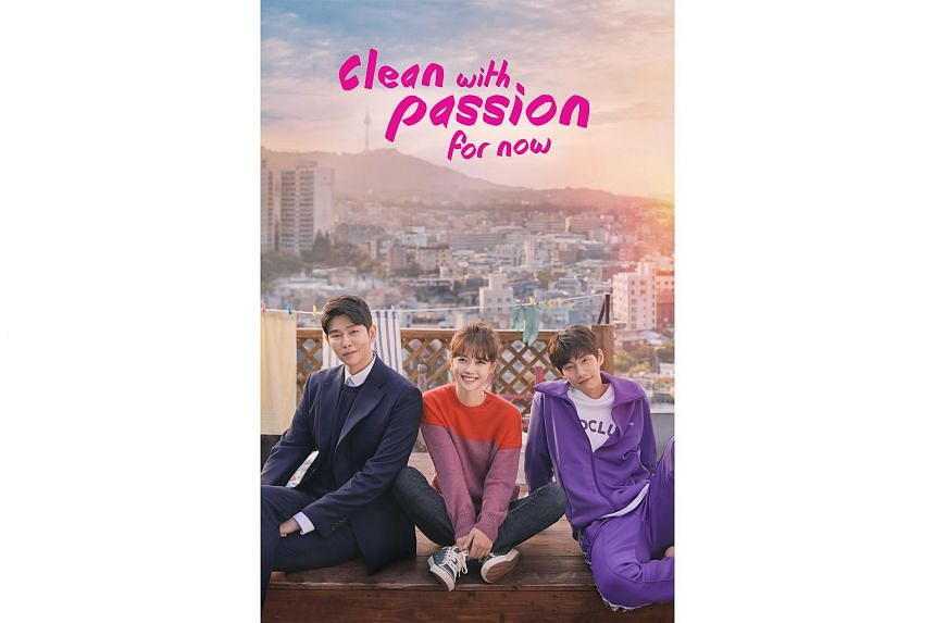 Celebrities (from left) Yoo Gyun-sang, Kim You-jung and Song Jae-rim in a still from the romantic comedy Clean With Passion For Now.