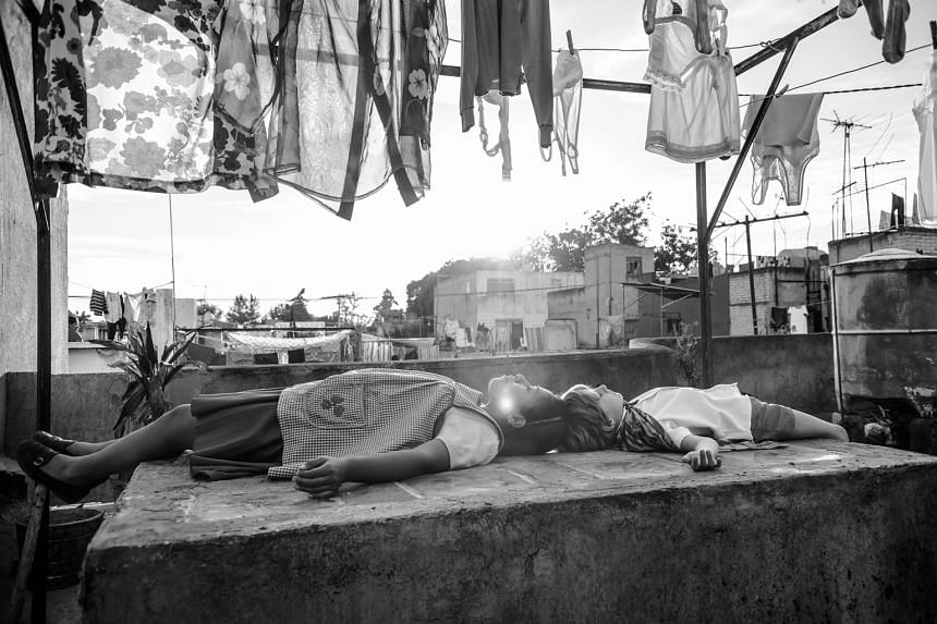 Movie still from writer-director Alfonso Cuaron's Roma.