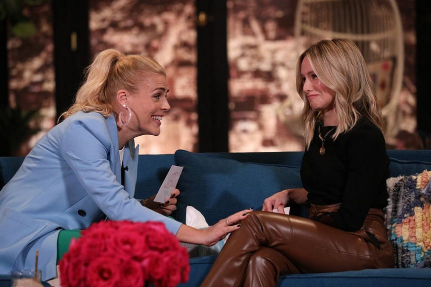 Host Busy Philipps (left) speaking to actress Kristen Bell on the new late-night talk show Busy Tonight.
