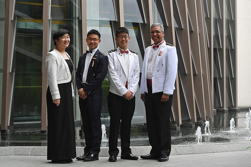 (From left): ME4 Shaune Lin Liling, 35; ME4 Benjamin Ng Zhi Long, 24; ME4 William Lim Qi Liang, 26; and ME4 (NS) Michael Gabriel Pillai, 44, were among the 89 senior military experts appointed during the 16th SAF senior military expert appointment ce